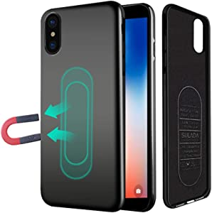 Case for iPhone Xs Max,Ultra Thin Magnetic Case for Magnet Car Phone Holder with Invisible Built-in Metal Plate,Soft TPU Shockproof Anti-Scratch Full Protective Cover for iPhone Xs Max 6.5''[Black]