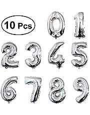 بالونات ميلار لأعياد الميلاد من 0 إلى 9 بالونات من الألومنيوم من تويفيان لتزيين الذكرى السنوية وأعياد الميلاد 10 قطع (فضي)