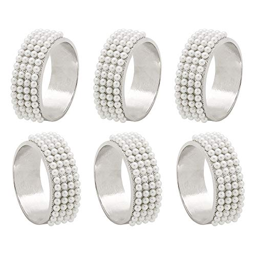 C&L Accessories Silver Pearl Rings Napkin Rings Set of 6 for Wedding,Dinner Party