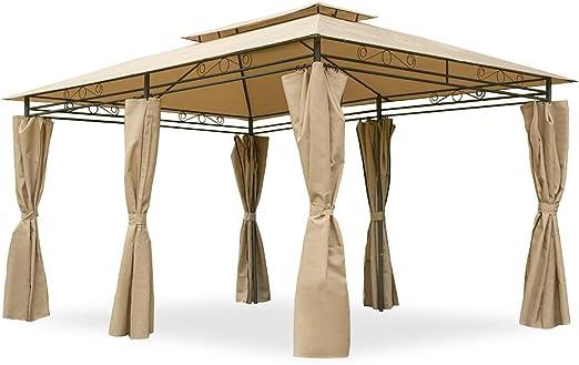 Garden Point Pabellón de Jardín Ibiza 300 x 400 cm | Rectangular | Hidrófugo jardín para Cubrir Muebles de jardín y Jacuzzi | Montaje fácil | con Cortinas | Crema: Amazon.es: Jardín