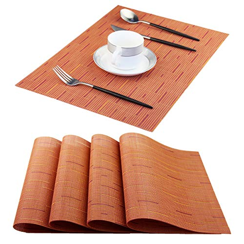 Pigchcy Plastic Placemats,Durable Placemats for Dining Table,Washable Woven Vinyl Kitchen Placemats Set of 4(18″X12″,Coral Orange)