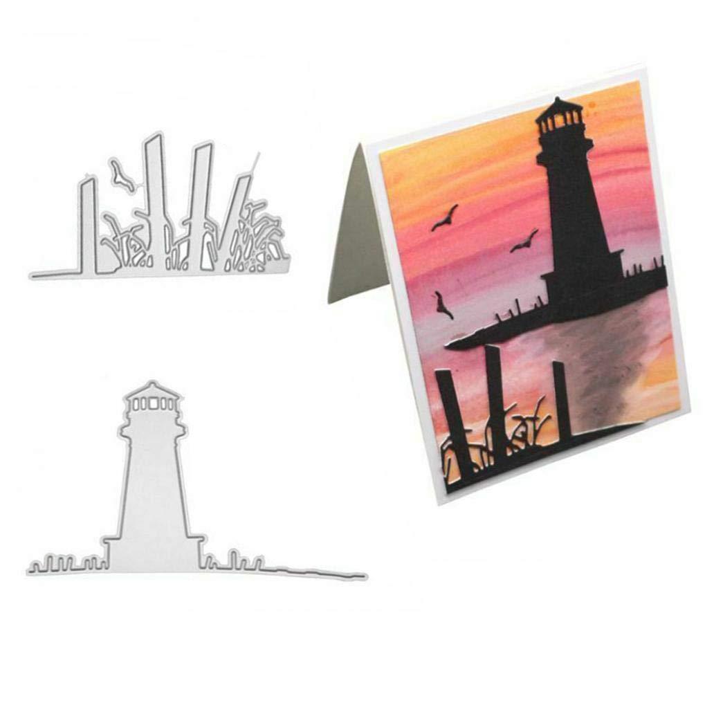 Silver longdelaY6 Cutting Dies Lighthouse Metal DIY Scrapbooking Emboss Paper Cards Album Stencil