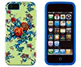 DandyCase 2in1 Hybrid High Impact Hard Colorful Green Rose Flower Pattern + Blue Silicone Case Cover For Apple iPhone 5S & iPhone 5 (not 5C) + DandyCase Screen Cleaner