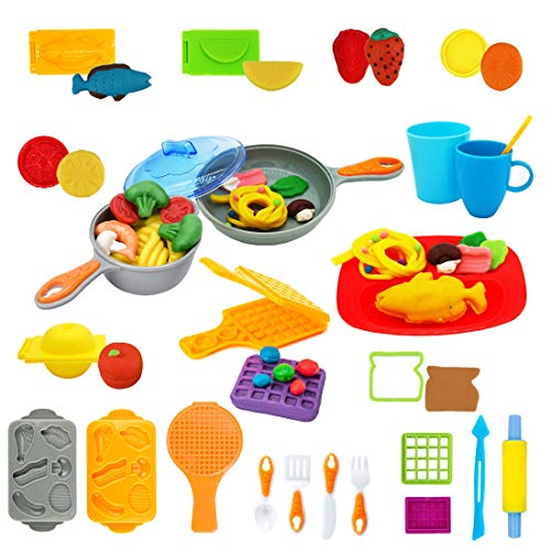Pandapia Cooking Kitchen Play Dough doh Tools Clay Playsets with Fish Apple Lemon Waffles Molds Cutters Party Pack for Toddler Preschool Toys