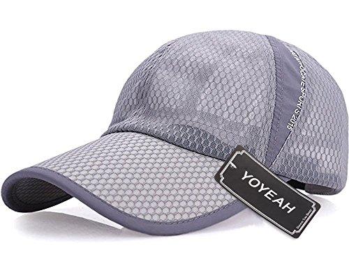 YOYEAH Men and Women Snapback Baseball Cap Sun Hat Outdoor Sports Mesh Hat Light Gray - Q3 Hair Dryer