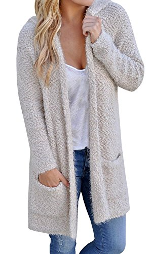 Womens Cardigans Oversized Open Front Knit Teddy Hooded Cardigan with Pockets