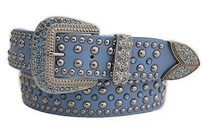 TFJ Women Western Fun Fashion Belt Big Beads Metal Buckle Rhinestones M L Light Blue