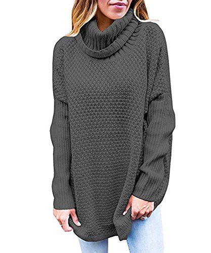 - Valphsio Women's Casual Turtle Cowl Neck Ribbed Cable Knit Long Sweater Jumper