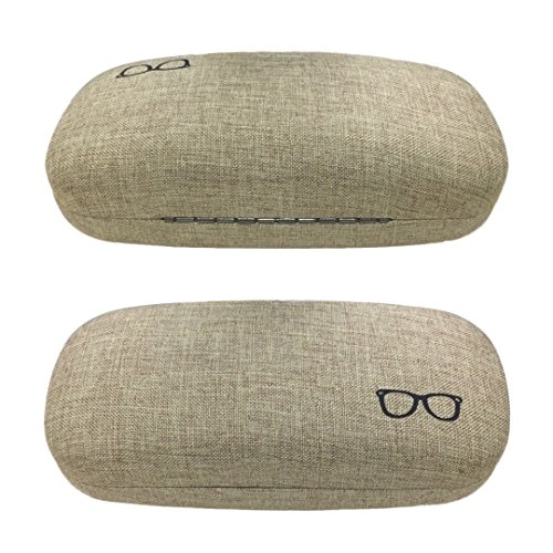 Yulan Hard Shell Glasses Case,Linen Fabric Case for Eyeglasses and Sunglasses(Includes Glasses Pouch)(Tan/Plus)