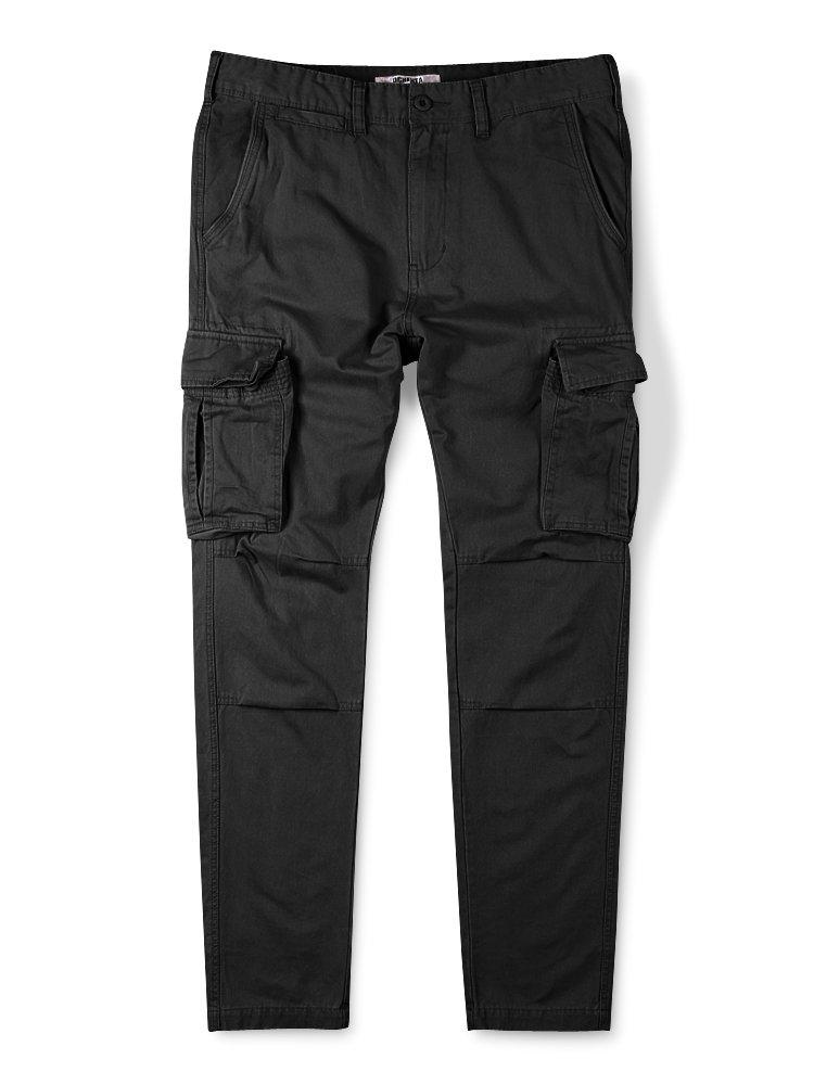 OCHENTA Men's Tapered Leg Athletic Fit Cargo Pant Black 38