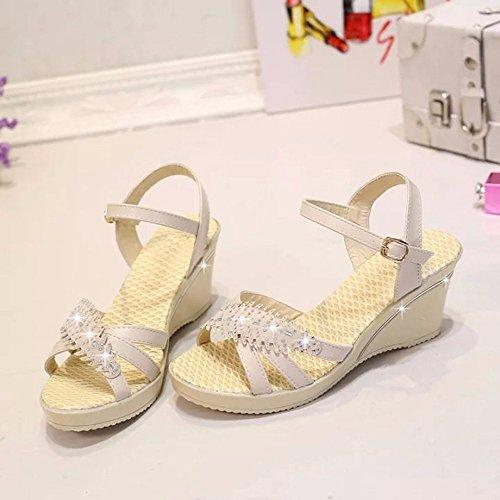 Bianco Sandali Shoes toed No Pendenza Aperto Estate Wild Cremoso 55 Casual Donna Con O4FIwqP