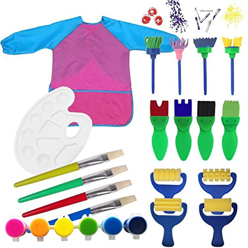 Kids Paint Set Bundle with Pink/Blue Long Sleeve Art Smock, Brushes, Paints and Palette (19 items)