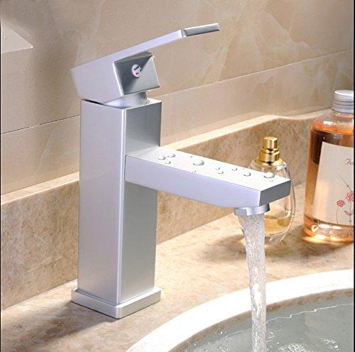 Furesnts Modern home kitchen and Bathroom Sink Taps Space aluminum single hole hot and cold Quartet Bathroom Sink Taps,(Standard G 1/2 universal hose ports)