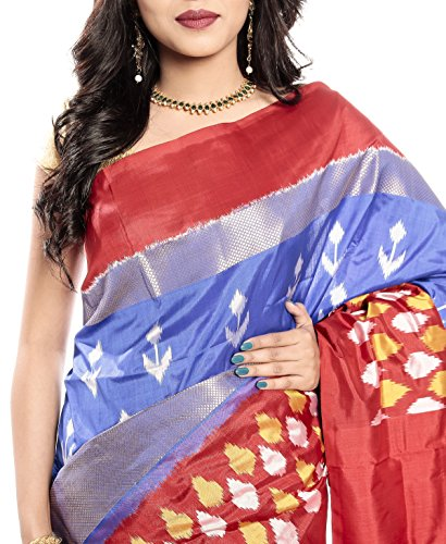 Mandakini — Indian Women's Pochampally - Handloom - Ikat Pure Silk Saree (Blue-Reddish Orange ) (MK355) by Mandakini (Image #2)