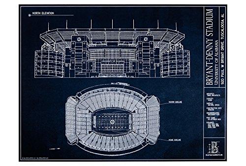 Bryant-Denny Stadium - University of Alabama Blueprint Style Print (Unframed, 18