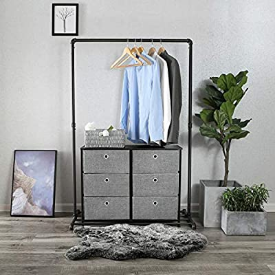 SONGMICS 3-Tier Wide Dresser Drawer, Storage Unit with 6 Easy Pull Fabric Drawers and Metal Frame, Wooden Tabletop, for Closets, Nursery, Dorm Room, Hallway