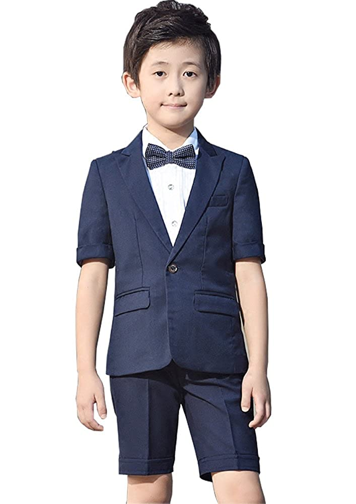 Michealboy Boys 2Pcs Modern Fit Solid Dress Suit Jacket Pants 3T-10 Blue Black