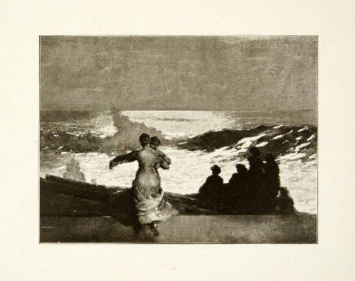 1911 Print Summer Night New England Winslow Homer Coast Shore Silhouette Waves - Original Halftone - Silhouette Summer