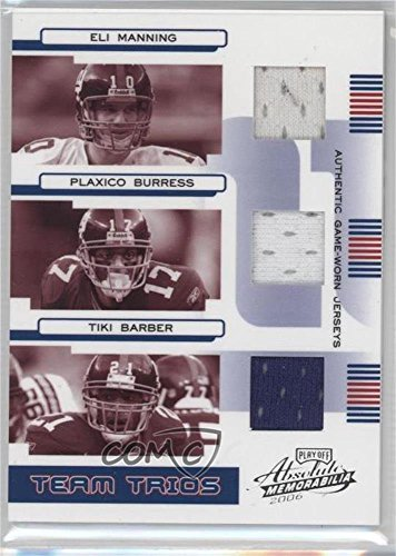 (Eli Manning; Plaxico Burress; Tiki Barber #39/100 (Football Card) 2006 Playoff Absolute Memorabilia - Team Trios - Materials [Memorabilia])