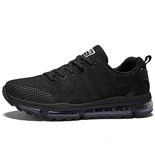 TORISKY Unisex Sportschuhe Laufschuhe Sneakers Turnschuhe Fitness Mesh Air Leichte Schuhe Rot Schwarz Weiß Schwarz