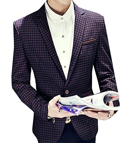 kaured Men's Leisure Suit Plaid Party Outwear Top Jackets 5US Large