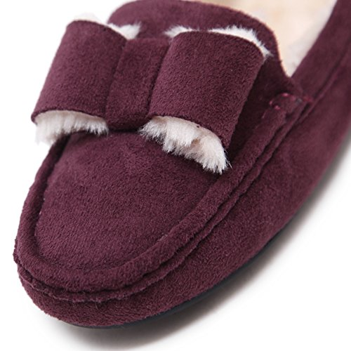 Meeshine Dames Namaakbont Pantoffels Comfy Zacht Indoor Outdoor Mocassin Loafer Paars 01