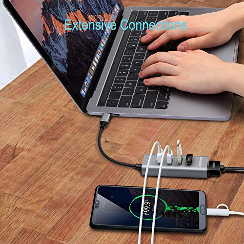 TWOPAN USB C Hub T1-H, 5-in-1 USB Type C Hub with HDMI(4K) Output and 4 USB 3.0 Ports Compatible with Samsung Galaxy S10+/S10/S9/S8 MacBook Air/Pro Chromebook iPad Pro Travellers' Choice Space Gray