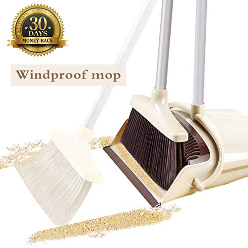 OLLSDIRE Broom and Dustpan Set Outdoor or Indoor Broom with Dust Pan 3 Foot Mop Angle Heavy Push Broom for Kids Garden Pet Dog Hair Wood Floors Sweeping Kitchen House Light Yellow