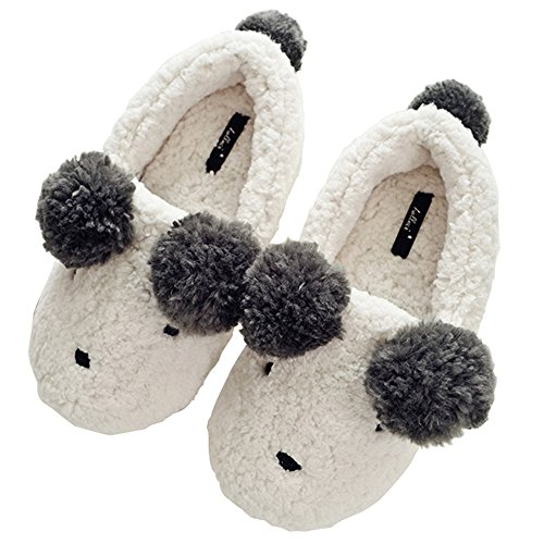 HALLUCI Women's Cozy Fleece Memory Foam House Trick Treat Halloween Slippers (5-6 B(M) US, Cute Bear)