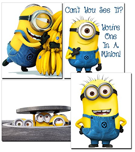 Minion Movie Photos/Prints - 4 Piece Set of Cute Minion Decor - Decorations for Bedroom, Kids Room, Boys/Girls Room, Playroom, Nursery - for Despicable Me -