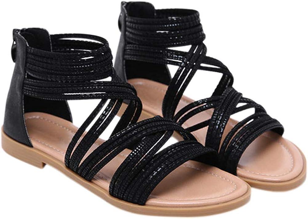 Fosheng Women Zip Sandals Ladies Low