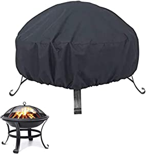 "Oslimea Patio Fire Pit Cover Round Patio Fire Bowl Cover Waterproof Windproof Anti-UV 420D Heavy Duty Round Gas Firepit Furniture Table Covers (48"" Dia x 18"" H)"