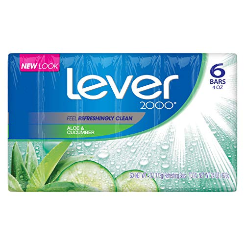 Lever 2000 Bar Soap, Aloe & Cucumber, 4 oz, 6 Bar