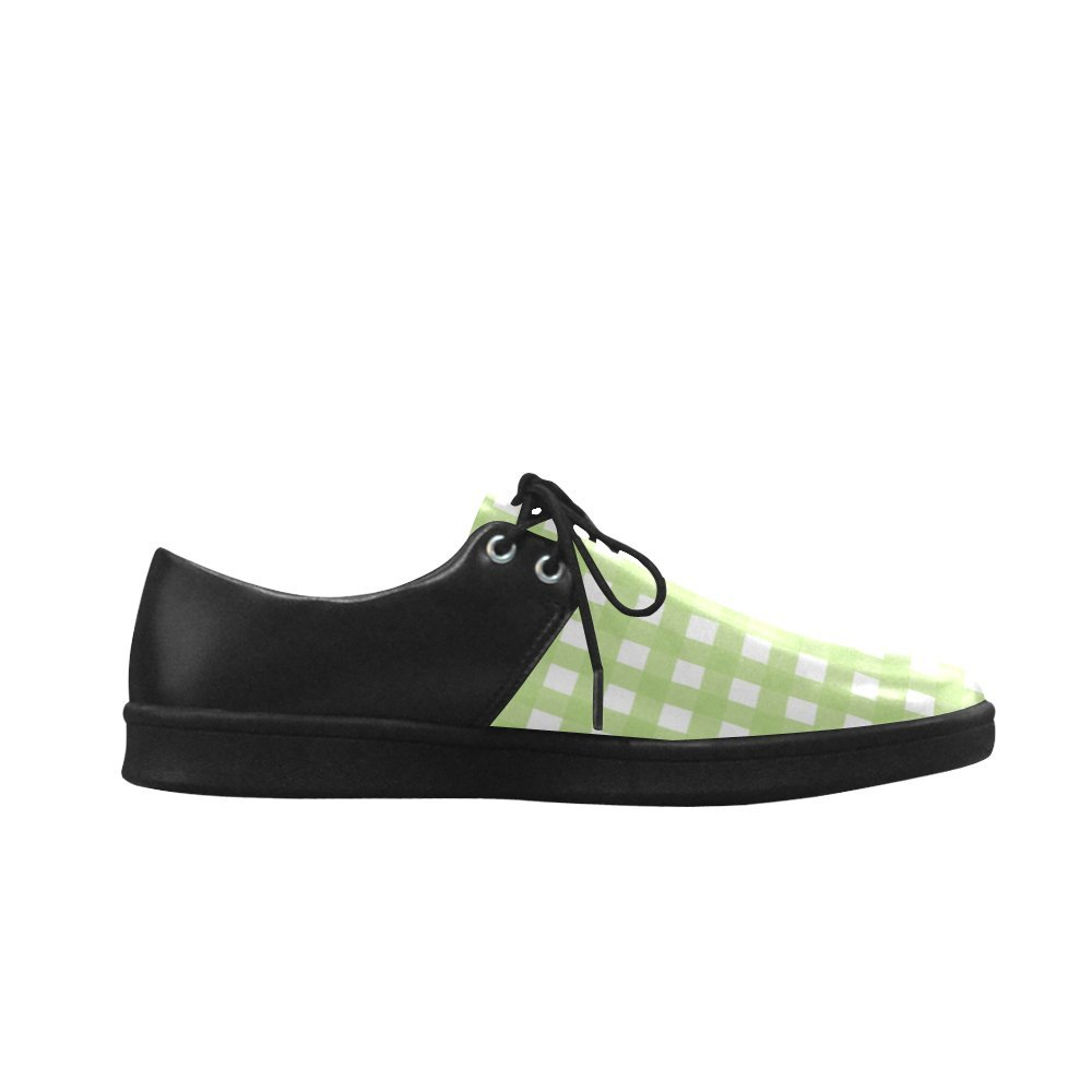 Green Check Lace Up Mesh Cloth Casual Mens Shoes