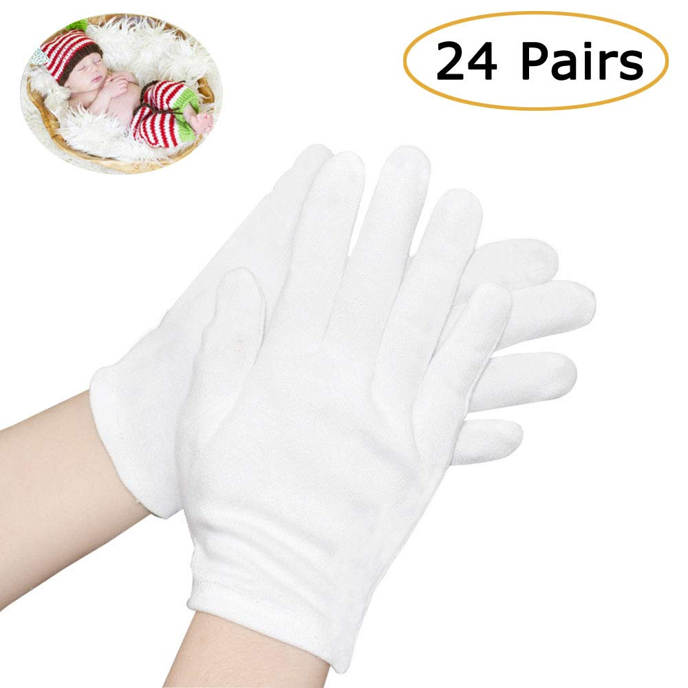 Cotton Gloves, 24 Pairs White Cotton Gloves Cloth Serving Gloves for Eczema Moisturizing Dry Hands Coin Jewelry Silver Archival Costume Inspection, Medium Size