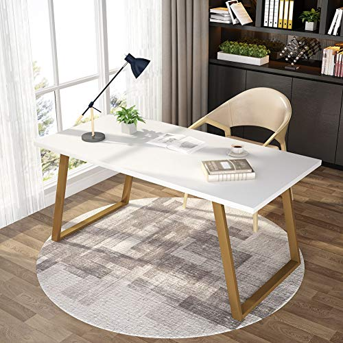 Tribesigns 55'' White Writing Desk, Minimalist Computer Desk with Slanted Gold Metal Frame, Simple Style Study Laptop Table for Home Office (White+Glod) by Tribesigns (Image #7)