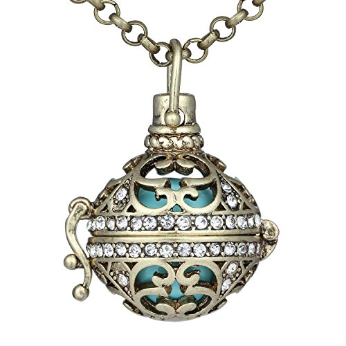 Bonnie 27 inch Chain Necklace Hollow Heart Cubic Zirconia Musical Chime Filigree Ball Necklace ()