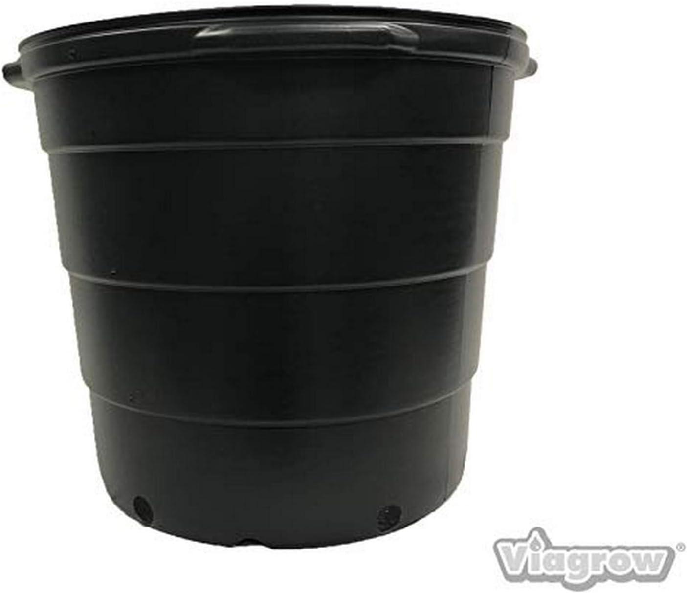 Viagrow VHPP2000-5 20 Gal. Round Plastic Garden (5-Pack) (20.4 Actual gallons / 77.22 liters/3.17 CU ft) Nursery POTS, BLACK