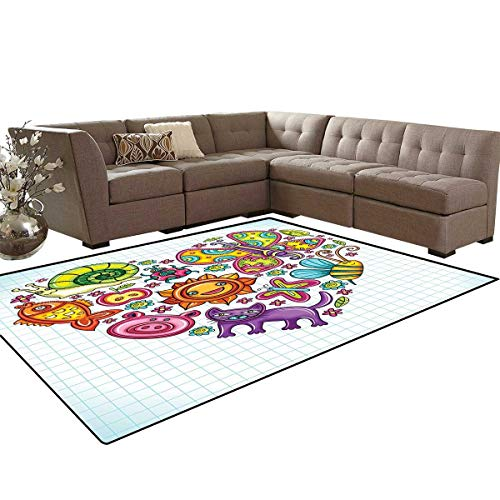 Doodle Anti-Skid Area Rugs Flora and Fauna Themed Heart Animals Birds and Plants Bumblebee Ladybug Leafs Cat Customize Door mats for Home Mat 6'x8' Multicolor ()