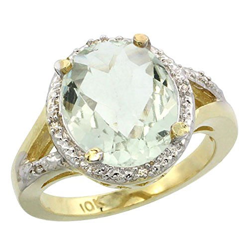 10K Yellow Gold Genuine Green Amethyst Ring Oval 12x10mm Diamond Accent size 10