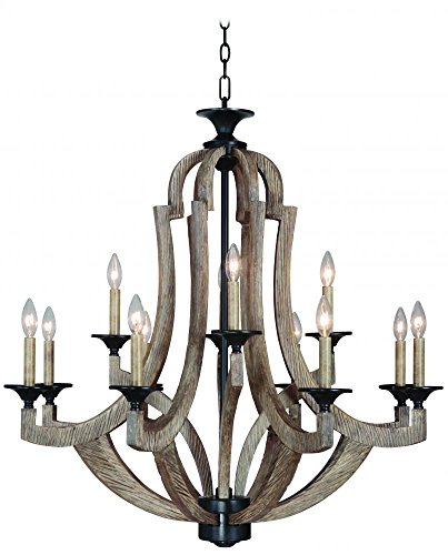 Craftmade 35112-WP Winton Large Candle Chandelier Lighting, 12-Light, 720 Watts, Weathered Pine 36 W x 35 H