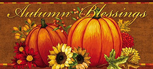 Evergreen Flag Pumpkin & Sunflower Sassafras Decorative Doormat Insert -