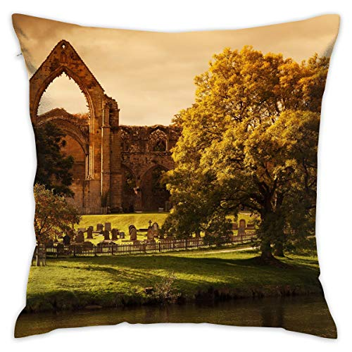 TRK-KWQDF Bolton Abbey Ancient Architecture Throw Pillows Covers for Couch/Bed 18 X 18 Inch, Print for Textile Wallpaper Pattern Home Sofa Cushion Cover Pillowcase Gift Bed Car Living Home