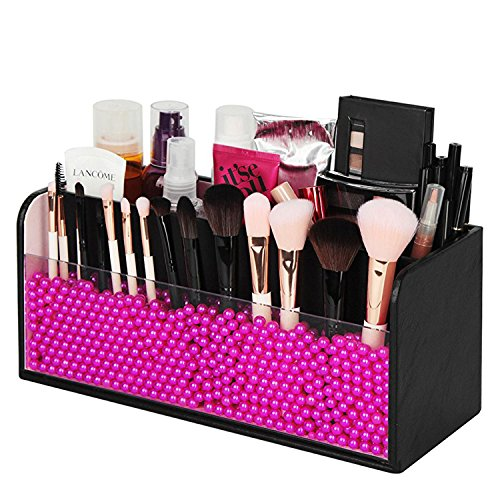JackCubeDesign Makeup Organizer - Premium Quality - with Pink Pearls for Brush Holder and 3 Compartments (Black, 11.8 x 4.9 x 5.3 inches)-:MK284A