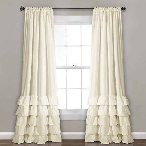 Lush Decor Allison Ruffle Curtains-Window Panel Drapes Set for Living, Dining Room, Bedroom (Pair), 84