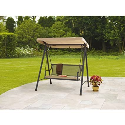 Outdoor Swing 2 Seat Wrought Iron With Cushion, Tan
