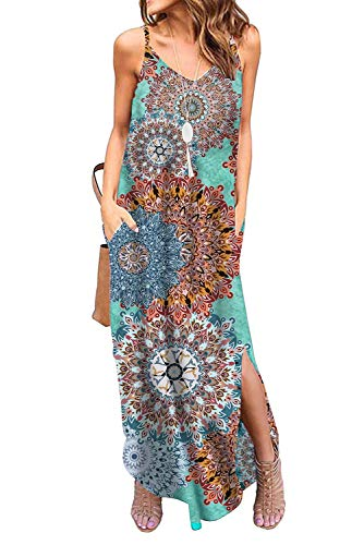 Donnalla Womens Summer Casual Loose V-Neck Dress Spaghetti Strap Sleeveless Split Maxi Dresses(Multicolor Small)
