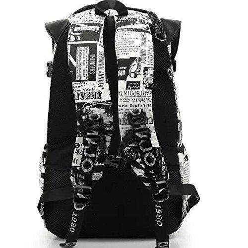Unisex Canvas Rucksack YummyBuy Casual Daypack Schulrusack Laptoprucksack Grosse Kapazität Für Camping, Wandern, Reisen, Arbeiten und College (Schwarz-Weiss) Schwarz-Weiss