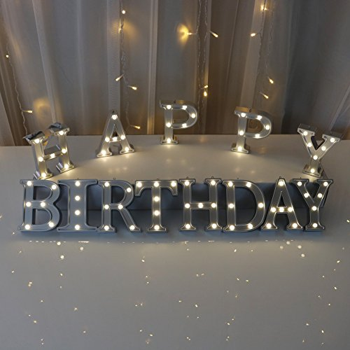 DELICORE Decorative Illuminated Marquee Word Sign HAPPY BIRTHDAY - Silver Color 4.21