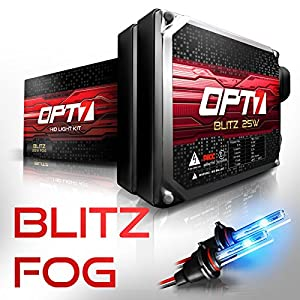 OPT7 Blitz 25w H10 9040-9145 Fog Light HID Kit - 3x Brighter - 4x Longer Life - All Bulb Colors and Sizes - 2 Yr Warranty [10000K Deep Blue Xenon]]